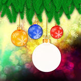 Branches of christmas tree  on abstract  background Stock Photos