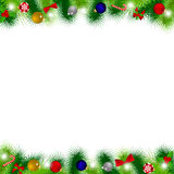 Branches of Christmas tree decorated with balloons, ribbons, can Royalty Free Stock Images
