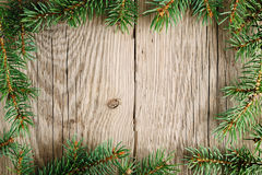 Branches of christmas tree on wood Royalty Free Stock Image