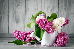 Branches are colored lilac in a basket on the background of wooden boards. Royalty Free Stock Images