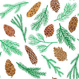 Branches and cone seamless pattern. Pine fir christmas tree cedar spruce and cones seamless pattern vector illustration Royalty Free Stock Images