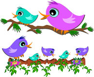 Branches of Cute Birds Stock Photo