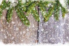 Branches décorées de pin sur l'espace libre en bois de table Image stock