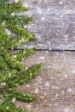 Branches décorées de pin sur l'espace libre en bois de table Image libre de droits