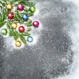 Branches d'arbre colorées de Noël de décoration de boules Image stock