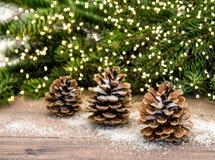 Branches d'arbre de cône et de Noël de pin Allume la décoration Photo libre de droits