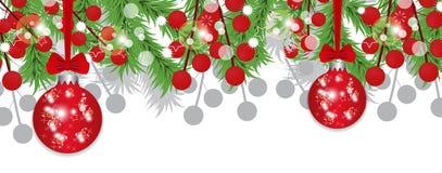 Branches d'arbre de Noël avec des baies de houx et des babioles rouges Bannière de décoration de vacances Vecteur Image libre de droits
