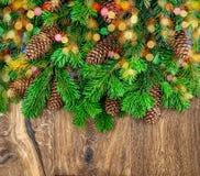 Branches d'arbre de Noël avec des cônes et des lumières colorées Photographie stock libre de droits
