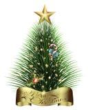 Branches d'arbre de Noël avec des guirlandes de décorations des cônes et des salutations illustration stock