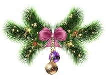 Branches d'arbre de Noël avec des guirlandes de décorations des cônes et des salutations illustration libre de droits