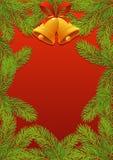 Branches d'arbre de sapin avec le cadre rouge de nouvelle année d'arc et de cloches images stock