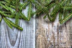 Branches d'un arbre de Noël sur un fond en bois photos stock