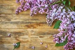 Branches d'un lilas pourpre de floraison, sur la vieille table en bois photo stock