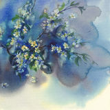 Branches de cerise à l'arrière-plan d'aquarelle de fleur illustration stock