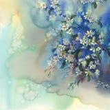 Branches de cerise à l'arrière-plan d'aquarelle de fleur illustration de vecteur