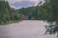 branches de chêne au-dessus de rivière d'été - effet de vintage image libre de droits