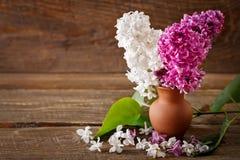 Branches de lilas se tenant dans un vase en céramique sur le fond des conseils en bois images libres de droits