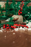 Branches de sapin couvertes de neige et de cannelle dans la boîte et le houx sur une table en bois avec un mur de briques Fond de Photographie stock libre de droits