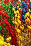Branches de saule peint de rouge, bleues et vertes de couleurs de jaune, sur un marché de fleur Photos libres de droits