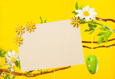 Branches - with Easter Eggs, Flowers and Blank Card Royalty Free Stock Photos
