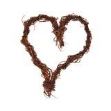 Branches en bois sous forme de coeur, d'isolement sur le blanc Photos stock