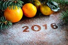 Branches 2016 et aiguilles de mandarine de nouvelle année sur le fond gris Images libres de droits