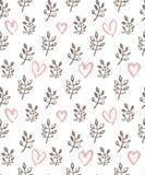 Branches et coeurs sans couture de ressort de modèle de graphiques tirés par la main romantiques illustration libre de droits