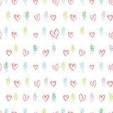 Branches et coeurs sans couture de ressort de modèle de graphiques tirés par la main romantiques illustration stock