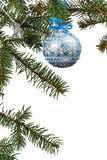 Branches of fir tree with Christmas ornament on white isolated background. Branches of fir tree with toy ball, bell and other Christmas ornament on white royalty free stock photography