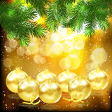 Branches of fir tree and glass balls. Christmas background. Branches of fir tree and golden glass balls Stock Photos
