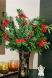 Branches of the fir tree in glass vase Stock Image