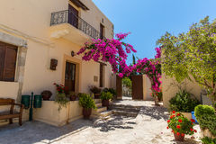Branches of flowers pink bougainvillea bush on Balcony, Crete, Greece Stock Photography