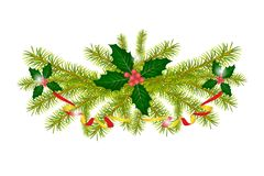 Branches of holly with berries and spruce branch with decorative. Ribbon. Christmas decorative element. Isolated. White background Stock Image