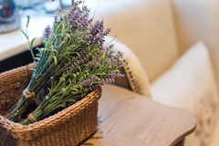 Branches lavender. In the wicker basket Stock Photography