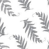 Branches and leaves seamless. Grey stock illustration