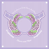 Branches of lilac in the center under the round banner with ribbons Royalty Free Stock Photos