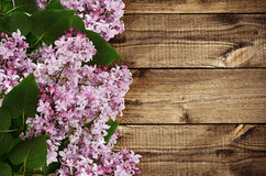 Branches of lilac flowers on wood Royalty Free Stock Photography