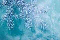 Water color white background acrylic inside smoke steam frost snow branch needles christmas tree winter blue frozen watercolor. Branches needles with blue and stock photography