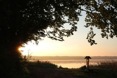 Free Branches Of Oak On The Shore A Lake At Sunrise Silhouettes Trees Edge During Stock Image - 150587051