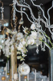 Branches of orchids in vases. The branches of orchids in vases on the holiday table. Decorative branch with crystal elements decorated table Stock Photography