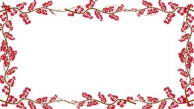Branches And Red Leaves Growing Into A Frame In Alpha Channel. Flowers Growing Into A Frame In Alpha Channel stock footage