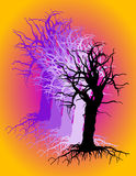 Branches and Roots. One tree (layered) on a gradient background. Use as is or incorporate texture in a design stock illustration
