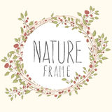 Branches of roses,  frame. Flowers with border. cute border wreath. green leaf floral elements frame. natural border in gentle colors Stock Images