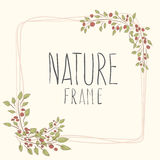 Branches of roses,  frame. Flowers with border. cute border wreath. green leaf floral elements frame. natural border in gentle colors Royalty Free Stock Images