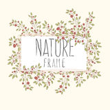 Branches of roses, square frame. Flowers with border. cute border wreath. green leaf floral elements frame. natural border in gentle colors Stock Image