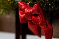 Branches rouges d'arc et de sapin rue 2008 de la Roumanie de décoration de décembre de Noël de caransebes Photos stock