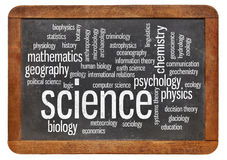Branches of science word cloud Royalty Free Stock Images