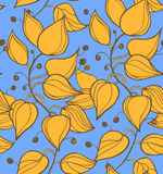 Branches seamless texture. Decorative colorful modern floral background. Pattern with fruits and leafs on blue sky Royalty Free Stock Image