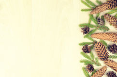 Branches of spruce and fir cones on a wooden background Stock Images