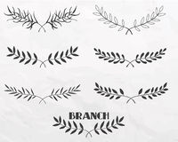 Branches tirées par la main Images libres de droits